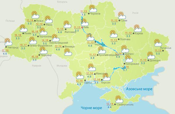 Прогноз погоды в Украине на 2 октября 2017 года ожидается переменная облачность